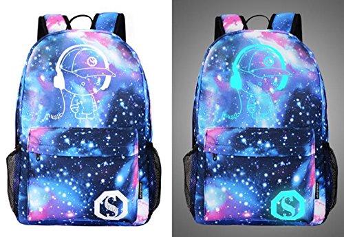 Salamii Galaxy Starry zaino anime luminoso zaino Zaino a tracolla scuola borsa per PC portatile,