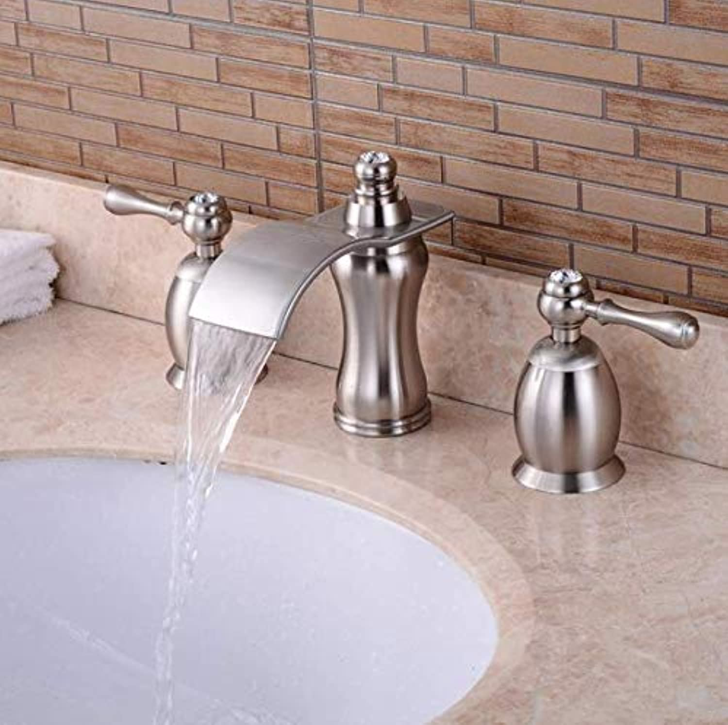 Decorry Bad Basin Sink Faucets Widespread Water Mixer Nickel Brushed Dual Handle Three Hole Waterfall Faucet, B