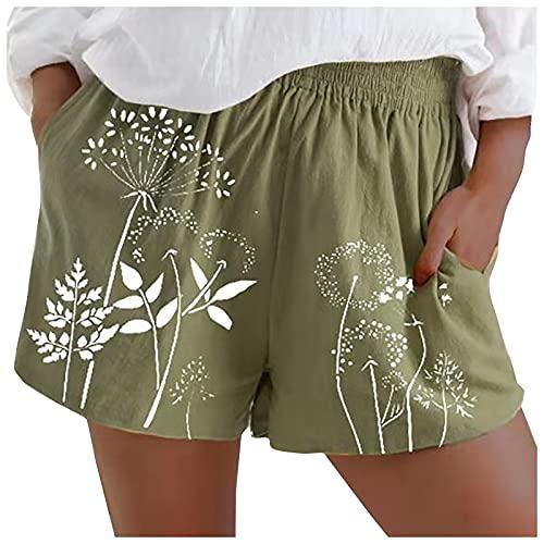 Pantalones Cortos Casual de Estampado para Mujer Pantalón Cortos con Bolsillos Laterales Pantalones Suelto y Transpirable Shorts de Cintura Elástica Pantalón de Verano Ligeros