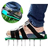 Outgeek Lawn Aerator Spike Shoes 6 Adjustable Straps Zinc Buckle for Aerating Lawn