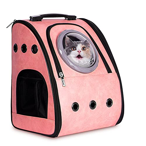 PETRIP Cat Carrier Backpacks for Large/Small Cats and Dogs, Space Capsule Bubble Backpack Pet Carrier Hold Pets Up to 22 Lbs, Airline-Approved Cat Backpack for Hiking, Travel, Camping,Outdoor(Pink)