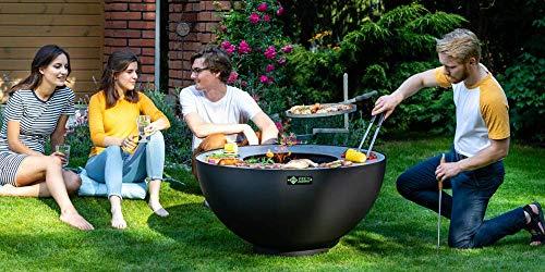 Boule mit Grillrost, dekorative Feuerkugel mit Grillfunktion für den Garten in Schwarz
