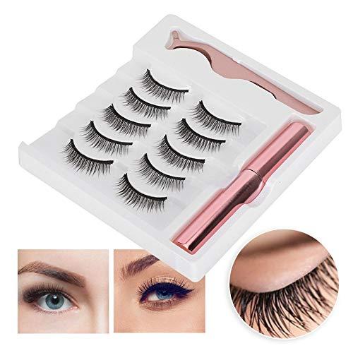 Magnetic Eyeliner and Lashes Kit, Magnetic Eyeliner for Magnetic Lashes, 5 Pairs 3D No Glue Needed False Eyelashes & Tweezers(#022)