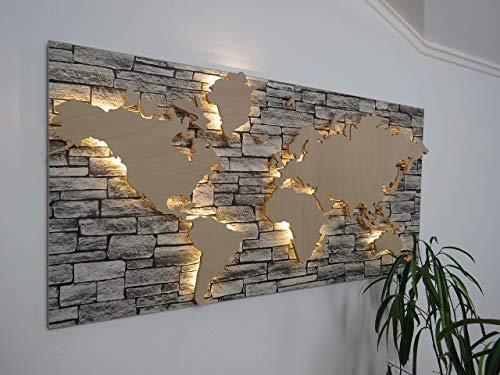 Holz Weltkarte mit LED Beleuchtung in Steinoptik - 100 x 50cm, 3D Effekt, Handgefertigt, Wanddekoration