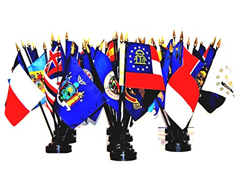 """Made in The USA!! 50-State World Flag Set with Bases-50 Rayon 4""""x6"""" Flags, State Flag Centerpiece and Ten 5-Hole Bases; 4x6 Miniature Desk & Table Flags, Small Mini Stick Flags"""