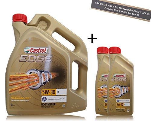 2x 1l + 5l = 7litros Castrol Edge Titanium fsttm 5W de 30LL Motor de aceite motores de aceite