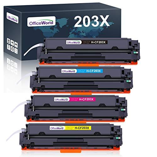 OfficeWorld Kompatibel Toner 203X Ersatz für HP 203X 203A CF540X CF540A für HP Color Laserjet Pro MFP-M281fdw MFP-M281fdn MFP-M280nw MFP-M281cdw, HP Color Laserjet Pro M254dw M254nw M254dn (4 Pack)