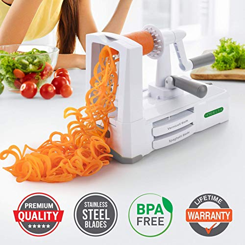 Product Image 2: Spiralizer Ultimate 10 Strongest-and-Heaviest Duty Vegetable Slicer Best Veggie Pasta Spaghetti Maker for Keto/Paleo/Gluten-Free, With Extra Blade Caddy & 4 Recipe Ebook White