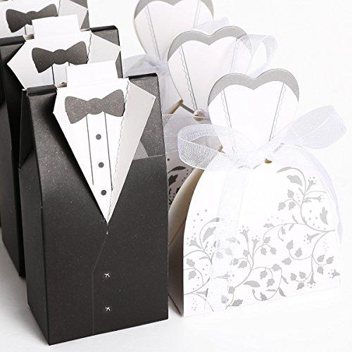 CLE DE TOUS@ 100pcs Cajas de boda para bombones caramelos chocolate Con forma Novio Novia Color Negro con Blanco