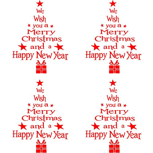 4 Pieces Christmas Tree Letter Stickers Removable Wall Door Stickers Letters Window Stickers for Christmas Home Decoration