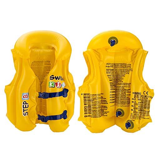 Excellentas Kinder Schwimmweste Kinderweste Schwimmhilfe Schwimm Lern Set für Baby und Kleinkind Schwimmbad aufblasbar Sommer Urlaub in gelb