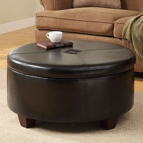 Winston Large Round Button-top Storage Ottoman Wood Construction Provides Durability