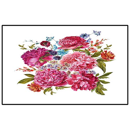 Shabby Chic Decor Rug for Bedroom entryway Rug Gentle Summer Flora Hyacinths BlackBerry and Peonies Victorian Vegetation Carpet Padding Multicolor 6.5 x 8 Ft