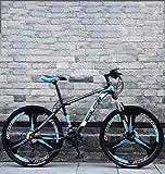 AISHFP 26 Pulgadas de Bicicletas de montaña, Doble Freno de Disco Trek Bicicletas, Marco de aleación de Aluminio/Ruedas, Playa de Motos de Nieve de Bicicletas,Azul,27 Speed