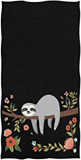 Naanle Cute Sloth on Tree Branch Funny Soft Highly Absorbent Large Decorative Hand Towels Multipurpose for Bathroom, Hotel, Gym and Spa (16