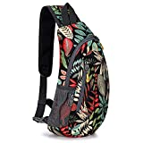 G4Free Sling Bags Men Shoulder Backpack Small Cross Body Chest Sling Backpack(Black Red Leaf)