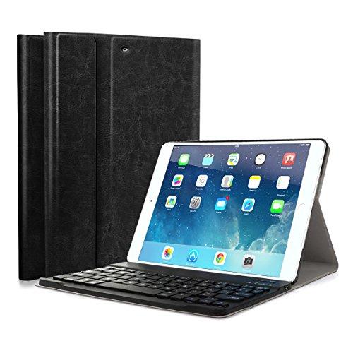 Funda con Teclado Extraíble Bluetooth 3.0 inalámbrico Español Layout para iPad 2018(A1893/A1954)iPad 2017 (A1822/A1823) iPad Air 2 (A1566 / A1567) iPad Air (A1474 / A1475 / A1476) iPad Pro 9.7 Negro