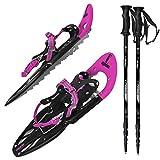 ALPIDEX Racchette Neve Ciaspole Alzatacco 38-45 Borsa Trasporto Bastoni Opzionali, Colore:Pink con Bastoncini