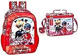 Ladybug & Cat Noir - Mochila y bolsa de guardería, color rojo