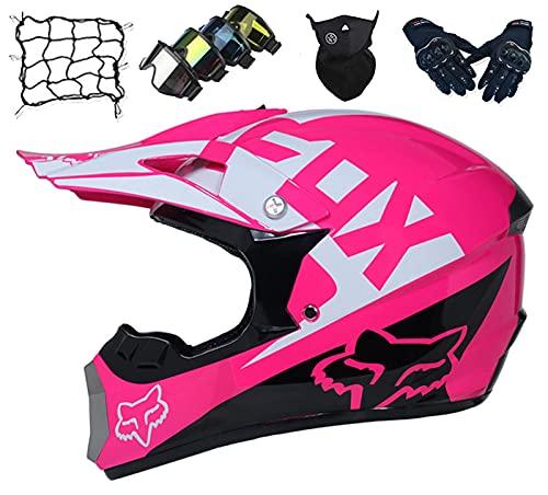 Kinder Motocross Helm Set (5 Stück), Erwachsene Full Face Motorrad Helm für MTB Downhill Quad Bike Enduro ATV Roller mit Brille/Maske/Handschuhen/Bungee Net - mit Fox Design - Pink