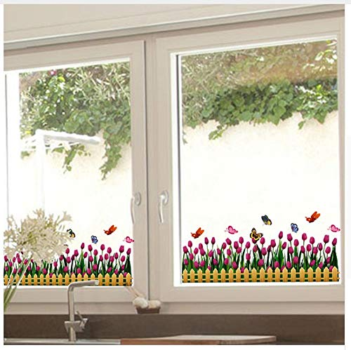 Tulpen Venster Sticker Vinyl Bloem Baseboard Rokken Bloemetjes voor Woonkamer Glas Raam Decoratie Adesivos