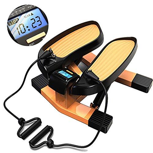 HJHY@ Mini Stepper Lateral Cardio Fitness Twister Stepper 2 en 1 Máquinas de Step con Bandas de Resistencia y Monitor LCD,Equipo de Fitness Hidráulico para Pérdida de Peso Deportivo