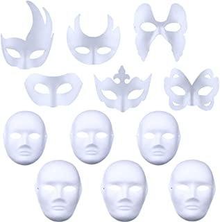 White Mask, 12PCS DIY Unpainted Masquerade Masks Plain Half Face Masks DIY White Masks for Kids Adult Halloween Mask Mardi Gras Mask
