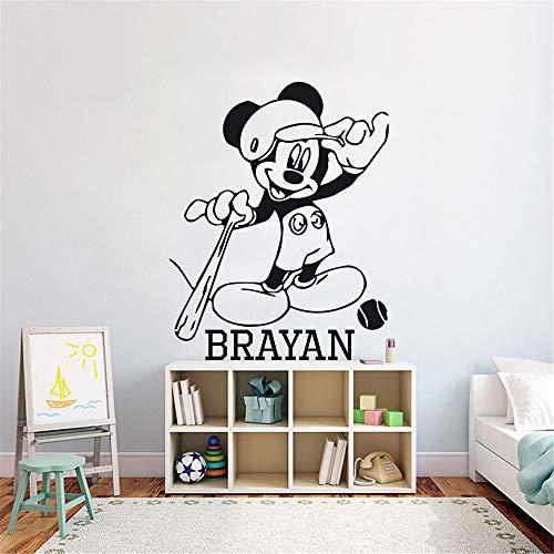 stickers muraux chambre sticker mural Personnalisé Nom Mickey Mouse Jouer Baseball Autocollants Enfants Décoration Bébé Chambre Garçon