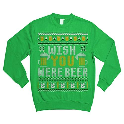 Funny Drinking Wish You were Beer Ugly Sweater Shirt - Noel Merry Xmas Sweatshirt Irish Green