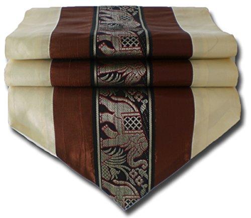 Elefanten cremefarben und Braun Tischläufer Tischdecke für Küche Wohnzimmer Thai Silk Abmessungen 150 cm x 30 cm