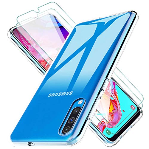 KEEPXYZ Funda para Samsung Galaxy A70 / A70s Silicona Transparente TPU Antigolpes + 2 Pcs Protector de Pantalla para Samsung Galaxy A70 A70s Cristal Templado, Vidrio Templado para Samsung A70 / A70s