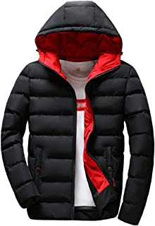 LISTHA Men's Winter Down Coat Hooded Zipper Jackets Pocket Solid Warm Outwear