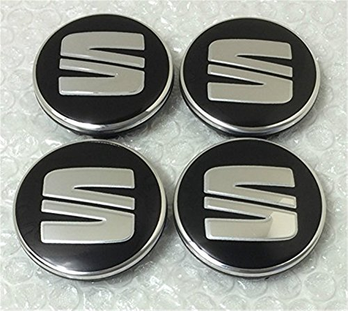 4x Seat Schwartz Plata Logo 56mm Buje tapas Buje Tapa Tapacubos Llanta Tapa Cilindro de Juego de tapas 6ll 6011715ja 601151a 5ja601151a 5ja6011511jo6011711J0601171fr Sport Performance I