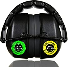 ClearArmor 141001 Shooters Hearing Protection Safety Ear Muffs Folding-Padded Head Band Ear Cups, Black