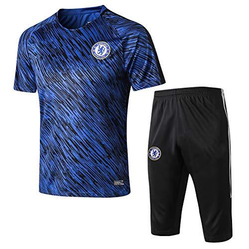 PARTAS Short Sleeve Trainingsanzug Inter Mailand Football Wear Verein Uniform Manchester Anzug Herren-Geschenk-Ausrüstungs-T-Shirt Inter Mailand Männer Jersey 2 Stück Sets (Size : L)