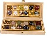 12 Stück echte Edelsteine Set Trommelsteine Heilsteine ca. 30 x 20 mm, alle Steinarten einzeln benannt in edler Holzbox, mit Rosenquarz, Amethyst, Bergkristall Orangencalcit usw.