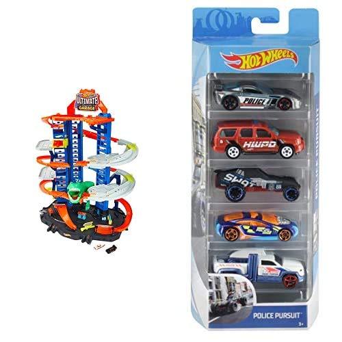Hot Wheels GJL14 City Robo T Rex Megacity Parkgarage mit Spielzeug Dinosaurier inkl. 2 Spielzeugautos+01806 5er Pack 1:64 Die-Cast Fahrzeuge Geschenkset+GCF92 - Track Builder System Rennstarter