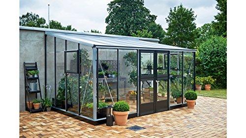 Juliana Anlehngewächshaus Veranda 12,9, BxT: 439x293 cm, schwarz-silber silberfarben, schwarz