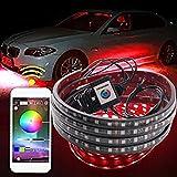 Téléphone sans fil APP bande de LED RGB 5050 SMD RGB LED sous le tube de voiture Underglow Kit système de bas de caisse système de lumière au néon@90X120 CM