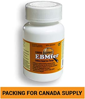 EBMfer 100 mg Iron Ferrous Ascorbate- 30 Capsules- Iron with Vitamin C- Vegan Vegetarian Capsule Pills- High Absorption Iron- Gentle on Stomach Iron Supplement- for Iron Deficiency Anemia