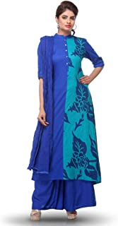 Blue Printed Cotton Palazzo Suit