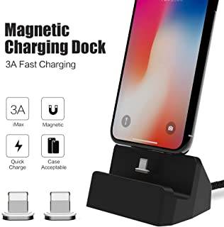 for iPhone Magnetic Desktop Charging Dock SIKAI 3A Quick Charging Data Sync Stand Compatible with iPhone XR, XS Max, iPhone 8,7, 6s, 6 Plus, iPad, Portable Desktop Charger Dock (Black)