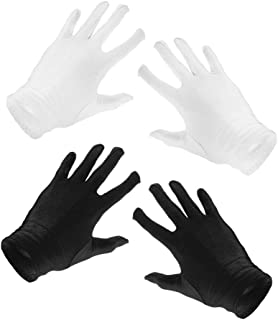 F Fityle 2Pairs Lady Short 2Pairs Gloves Costume Gloves Opera Party Dress Black+White