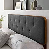 Modway Collins Tufted Fabric and Wood King Headboard in Walnut Charcoal