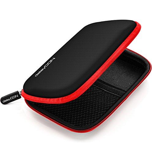 deleyCON Festplattentasche Festplatten Case HDD Case - Für 2,5 Zoll Festplatten und SSD - Robust & Stoßsicher - 2 Innenfächer Netztaschen - Schwarz/Rot