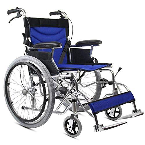Rollstühle, Old Man Push Travel Car Faltbarer Leichter Aluminium-Rollstuhl mit Armlehne/Fuß/freiem Luftreifen-Behinderten-Transporter, tragbar