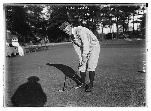 HistoricalFindings Photo: Chick Evans,Charles E. Evans,1890-1979,Amatuer Golfer,with Golf Club,Taken 1915