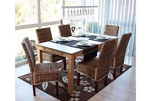 6 x Esszimmerstuhl hell ohne Kissen Korbstuhl Stuhl Bananengeflecht Holz neu