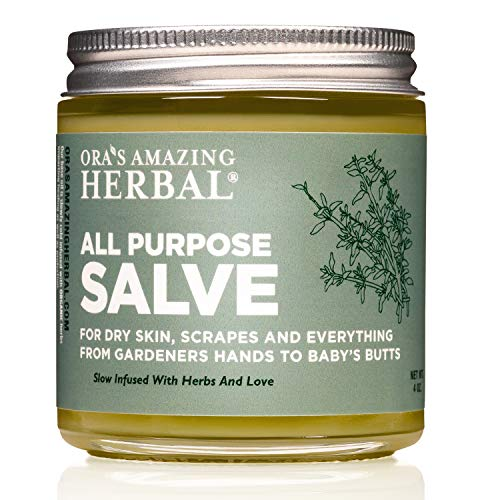 All Purpose Salve, Healing Ointment, Hand Salve, Chafing Cream, Dry Elbows, Cracked Heels, Folliculitis, Jock Itch Cream, Skin Soothing, Itchy Skin Relief, Dry Hands, 4 oz, Oras Amazing Herbal