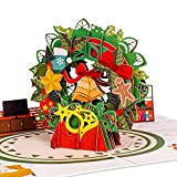 Paper Love Christmas Wreath Pop Up Christmas Card, Handmade 3D Popup Greeting Cards for Christmas, Holiday, Xmas Gift | 5' x 7'